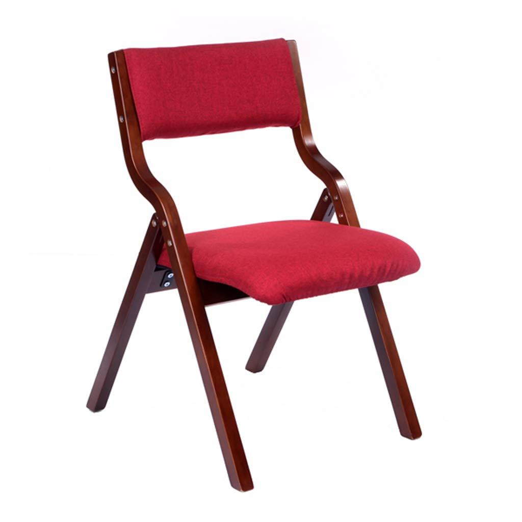 Fashion Solid Wood Office Chair Back Support Furniture Dining Chair Reception Chair Foldable - Red