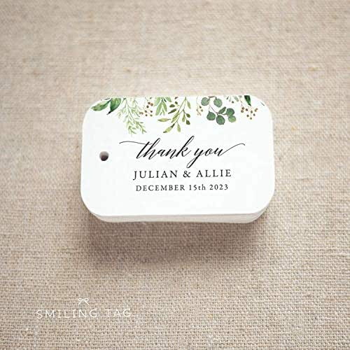 Personalized Luggage Tags Wedding Gift: Amazon.com: Thank You Greenery Wedding Favor Tags