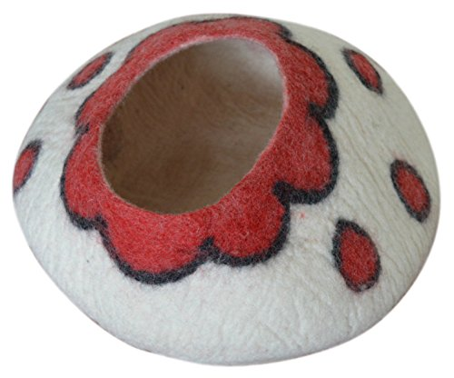 Best Cat Cave Bed, Unique Handmade Natural Felted Merino Wool, Large Covered and Cozy, Also Perfect for Kittens, Includes Bonus Catnip, Original Cat Caves, By Earthtone Solutions (Cushy Casa)