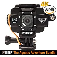 WASPcam 4K 9907 Action-Sports Camera, Black (The Aquatic Adventure Bundle)
