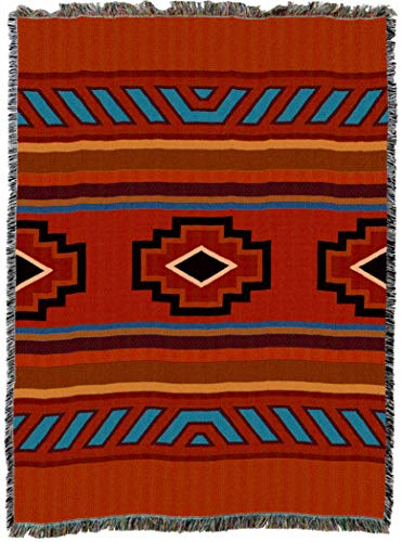 Pure Country Weavers | Chimayo Southwest Blanket | Woven Throw with Fringe Cotton USA 72x54