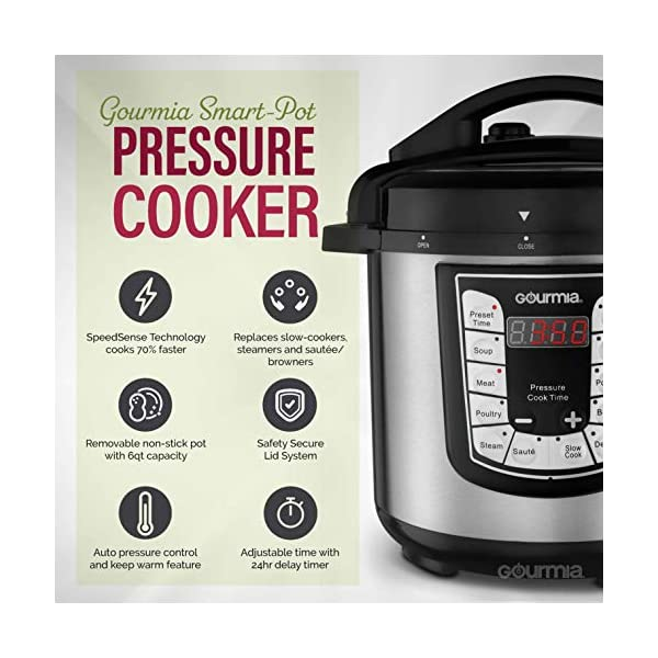 Gourmia GPC625 6 Qt Multi-Mode SmartPot Pressure Cooker | 13 Cook Modes | Removable Nonstick Pot | 24-Hour Delay Timer… 3