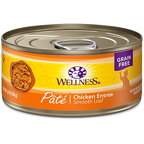 Wellness Natural Grain Free Wet Canned Cat Food - Chicken Pate - 5.5-Ounce Can (Pack of 24)