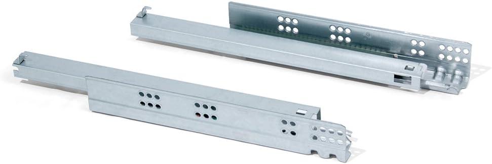 Emuca 3050605 Paire de coulisses invisibles pour tiroir fermeture soft sortie totale L 440mm