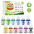 Food Coloring - 12 Color Bright Rainbow Cake Food Coloring Set for Baking, Decorating, Icing and Cooking - Assorted Variety Liquid Food Color Dye for Slime Making and DIY Crafts - .25 fl. oz. Bottles