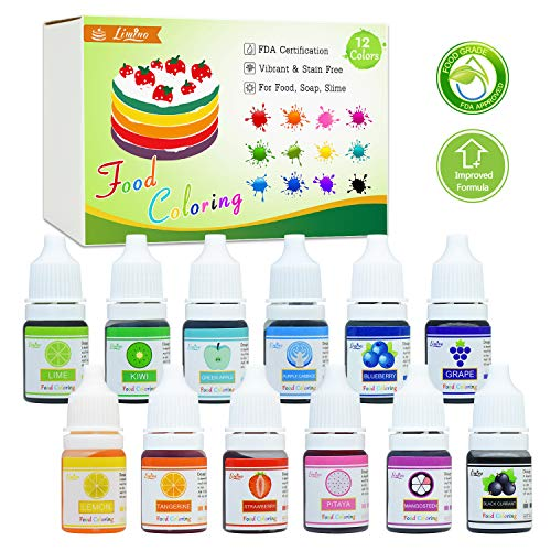 - Food Coloring - 12 Color Bright Rainbow Cake Food Coloring Set for Baking, Decorating, Icing and Cooking - Assorted Variety Liquid Food Color Dye for Slime Making and DIY Crafts - .25 fl. oz. Bottles
