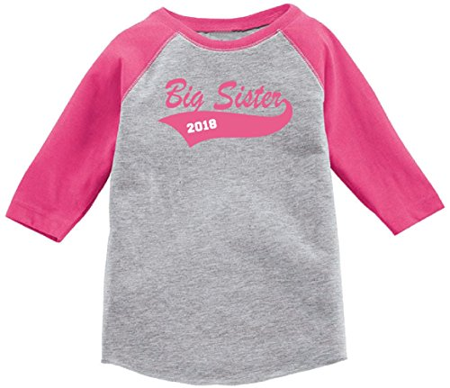 Lil Shirts Big Sister 2018 Toddler & Youth Girls Baseball Tee Shirt (Large) Big Sister Youth T-shirt