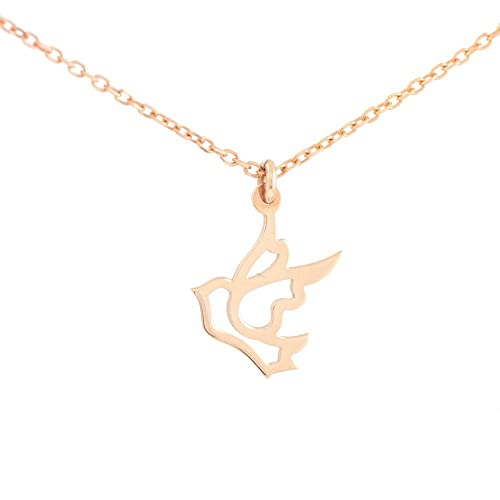 Amazoncom 14K rose gold necklace bird dove necklace layering