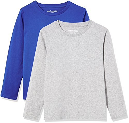 Boys Long Sleeve Crewneck T-shirt (Kid Nation Kids' 2 Pack Solid Long Sleeve Crew Neck T-Shirts for Boys or Girls XS Gray+Blue)