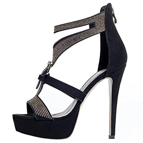 Enmayer Dames Suède Hoge Hakken Stiletto Gladiatoren Peep Toe Platform Zip Dress Schoenen Zwart