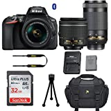 Nikon D5600 DSLR Camera with Nikon AF-P DX 18-55mm f/3.5-5.6G VR Lens + Nikon AF-P DX NIKKOR 70-300mm f/4.5-6.3G ED Lens + 32GB Memory Card + Deluxe Camera Carrying Bag + Tripod (Cerified Refurbished)