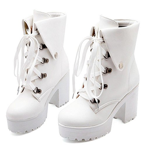 RAZAMAZA Women Lace up Chunky High Heel Ankle Booties LH White qNB3Vq