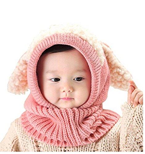 Baby Girls Boys Winter Hood Hat Scarf Earflap Skull Caps Warm Soft Cute Knitted Puppy Hat Beanies Head Ear Neck Warmer, Great Christmas Halloween Birthday Gift