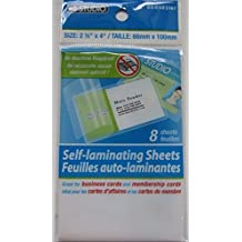 """Pack of 8 or 10 Self Laminating Sheets (2 1/2"""" X 4"""") for Business Cards 