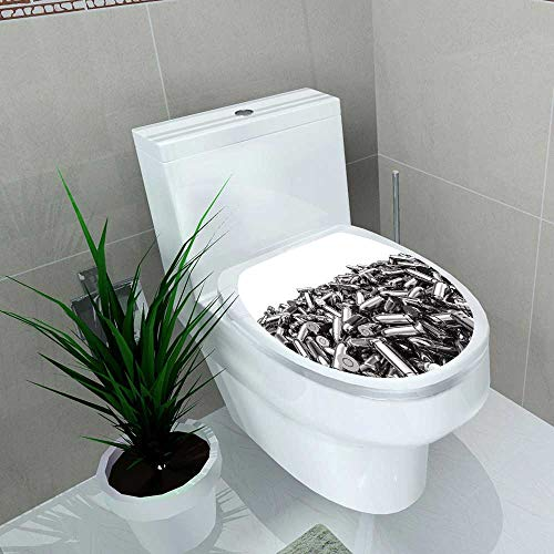 (Auraise-home Bathroom Toilet seat Sticker Decal Silver Bullets Pile 3D Render of 9 mm Bullets Decal Sticker Vinyl W15 x L17)