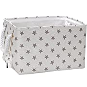 Sea Team Collapsible Rectangular Fabric Storage Bin Decorative Wardrobe Shelf Basket Organizer with Rope Handles for Clothes Storage & Toy Organizer (Grey Star)