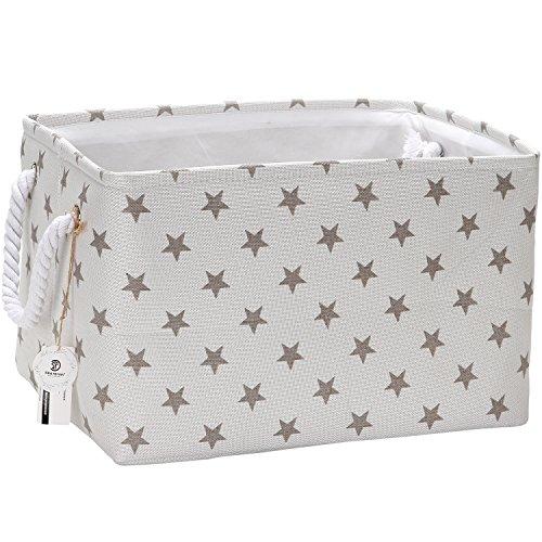 Sea Team Collapsible Rectangular Fabric Storage Bin Decorative Wardrobe Shelf Basket Organizer with Rope Handles for Clothes Storage & Toy Organizer (Grey Star)