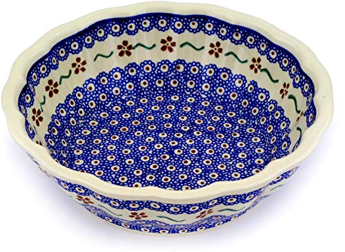 Polish Pottery 9½-inch Fluted Bowl (Sweet Red Flower Theme) + Certificate of Authenticity