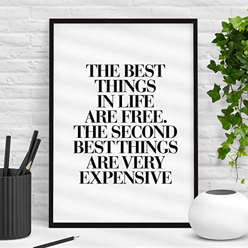 The Best Things in Life Are Free The Second Best Things are Very Expensive Coco Chanel Quote Typography Poster Wall Decor Motivational Print Inspirational Poster Home Decor