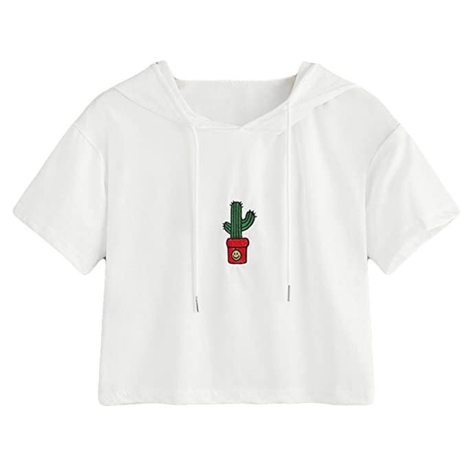 Algodón,Blusas para Mujer,Blusa de Manga Corta con Capucha para Mujer Camiseta de