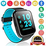 Qiwoo Bluetooth Smart Watch Fitness Tracker with Heart Rate Blood Pressure Monitor for Women Men Kids 1.55' IPS Touch Unlock GPS Tracker Pedometer Stopwatch Calorie Sports Outdoor Run iPhone Android
