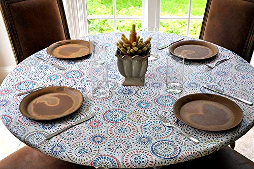 Covers For The Home Elastic Edged Flannel Backed Vinyl Fitted Table Cover - Multi-Color Geometric Pattern - Large Round - Fits Tables up to 45″ - 56