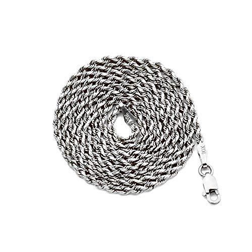 10K White Gold 2mm Diamond Cut Hollow Rope Chain Necklace with Lobster Lock (22