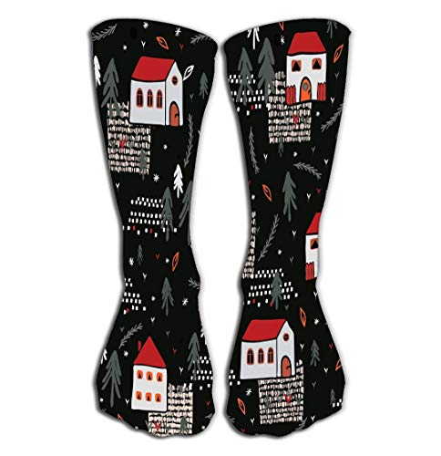 (Outdoor Sports Men Women High Socks Stocking Xmas Village Church House Pattern Black red Color Christmas Village Church House Pattern Black red Tile Length 19.7