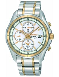 Seiko Men's SSC002 Two Tone Stainless Steel Analog with White Dial Watch