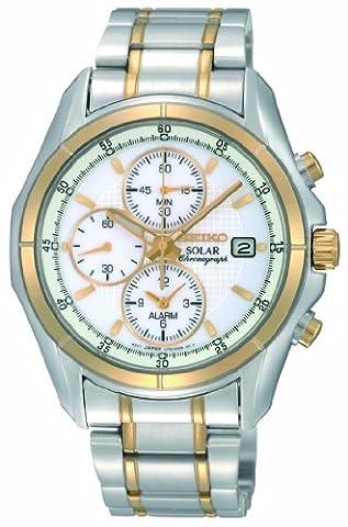 Seiko Men's SSC002 Two Tone Stainless Steel Analog with White Dial Watch (Seiko Solar Ssc002)