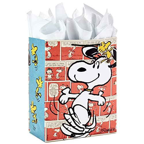 Hallmark Large Gift Bag with Tissue Paper for Birthdays, Baby Showers, or Any Occasion (Snoopy and Woodstock) -