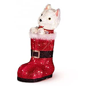 Lighted Animated White Terrier Dog Inside Santa's Boot Outdoor Christmas Decoration