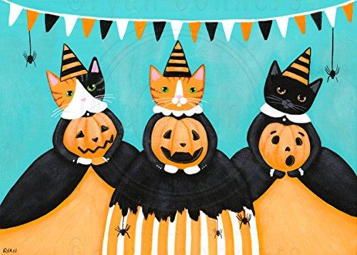 The Pumpkin Carving Committee Original Halloween Cat Folk Art Painting