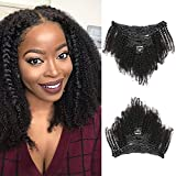 Kinky Curly Clip In Hair Extensions Human Hair 4A 4B Brazilian Natural Hair Kinky Culry Clip Ins 8pcs/set Afro Kinky Curly Clip In Human Hair Extensions for Black Women (120g-12inch, Natural Color)