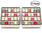 drawer organisers dividers 2 packs wardrobe organiser, leefe 24 cell collapsible closet cabinet