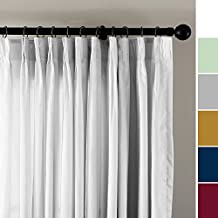 """ChadMade Vintage Textured Faux Dupioni Silk Curtain Panel Pinch Pleated 72""""W x 84""""L with White Cotton Lined, White Ivory"""