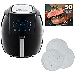 GoWISE USA 5.8-Quarts 8-in-1 Air Fryer XL + 50 Recipes for your Air Fryer Book with 1-Pack 9-inch Parchment Paper (Black)