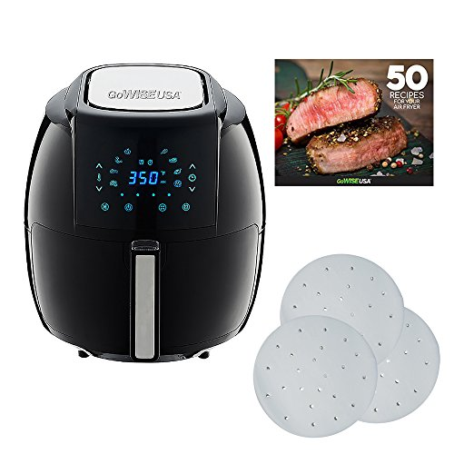 GoWISE USA 5.8-Quarts 8-in-1 Air Fryer XL with 1-Pack Parchment Paper + 50 Recipes for your Air Fryer Book (Black)