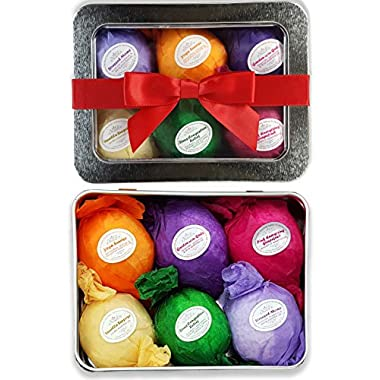 Bath Bombs Gift Set - USA Made - Ultra Lush SPA Fizzies Organic & All Natural Essential Oils. Best Spa & Beauty Product. Relaxation, Stress Relief and Dry Skin Relief Is Just One Bathtub Away! A Unique Gift for Her. Infused With Organic Shea and Cocoa Butter