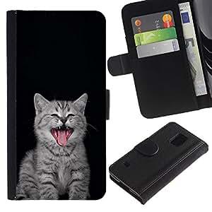 Billetera de Cuero Caso Titular de la tarjeta Carcasa Funda para Samsung Galaxy S5 V SM-G900 / Kitten Nebelung Persian Kurilian Bobtail / STRONG