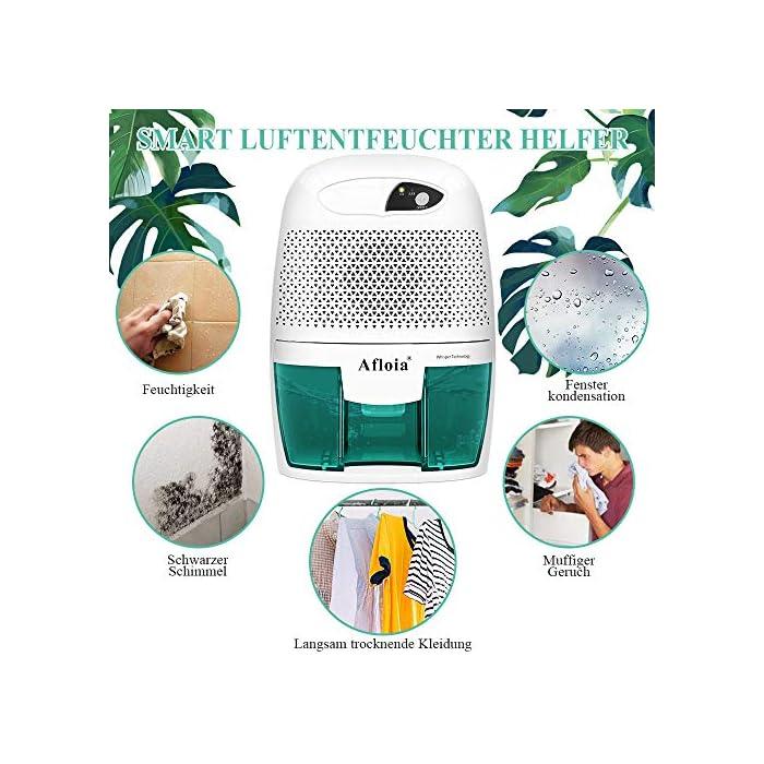 51wdBc4K KL ✔Silencioso: este deshumidificador eléctrico silencioso funciona silenciosamente, el ruido es inferior a 37dB, por lo que el mini deshumidificador no perturbará su trabajo, sueño o estudio. Perfecto para usar en la noche y áreas pequeñas. ✔Compacto y exquisito: este absorbedor de humedad portátil es muy flexible en aplicaciones, como baños y cocinas en la cocina. Y no recomendamos que utilice el deshumidificador mini cuando la humedad viva oscile entre 45% y 65%, porque la humedad más adecuada para la vida humana es de 45% a 65%. Pero depende de ti. ✔Apagado automático: el pequeño deshumidificador del baño se apagará automáticamente cuando el tanque de agua esté lleno y la luz indicadora de luz se iluminará para informarle que debe vaciar el tanque.