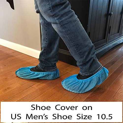 300 Pack Disposable Shoe Covers - 150 Pairs, One Size Fits Most, Elastic Fit, Non-Skid, Shoe & Floor Protection for Workplace, Construction, Auto, Home, or Medical