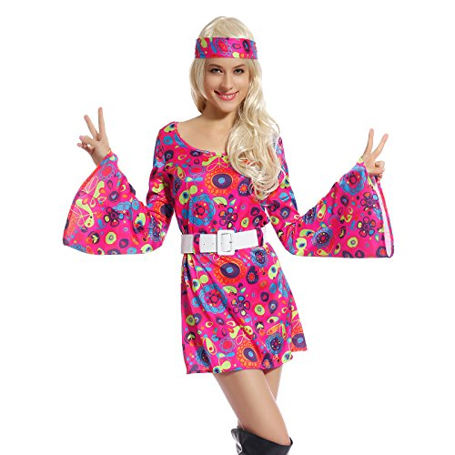 Retro Flower Go-Go Dress Groovy Hippie Girl Fancy Dress 60s 70s Hippy Costume - Colourful Fancy Dress Costumes
