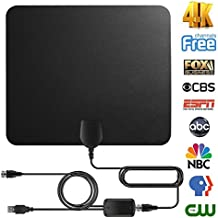 TV Antenna Digital Antenna For HDTV Indoor 60miles Range with Detachable Amplifier Signal Booster High Reception Clearview TV Antenna with High Performance Coax Cable for 4K 1080P Free Local Channels