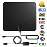 free antenna tv - TV Antenna Digital Antenna For HDTV Indoor 60miles Range with Detachable Amplifier Signal Booster High Reception Clearview TV Antenna with High Performance Coax Cable for 4K 1080P Free Local Channels