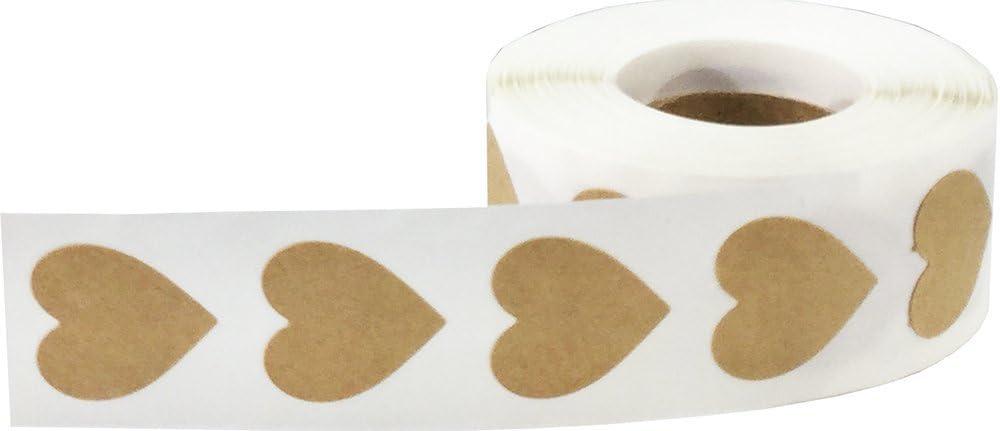 19 mm 3//4 Zoll Breit 500 Etiketten auf einer Rolle Gl/änzend Gold Herz Aufkleber