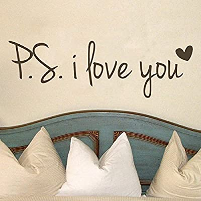 PS I Love You Vinyl Love Saying Love Wall Lettering Words Phrase Wall Decal Quotes Wall Stickers Home Art Decoration