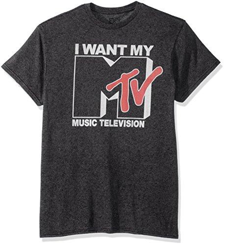Nickelodeon Men's Want Logo T-Shirt, Premium Charcoal Heather, Medium