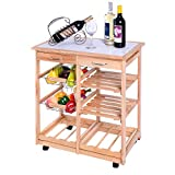 Gracelove Wooden Kitchen Storage Cart with Shelves & Drawers,Hostess Trolley,Kitchen Storage Rack