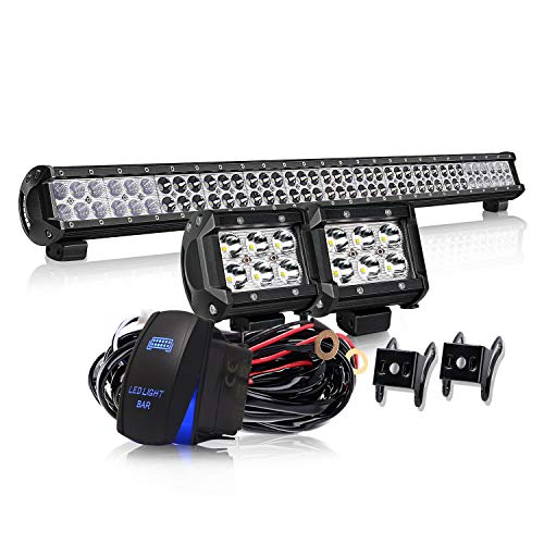 KEENAXIS 36 Inch 234W LED Spot Flood Combo Bar 2PCS 4Inch 18W Cube Pods LED Driving Lights with Rocker Switch Wiring Harness for Ford Jeep Truck Chevy Toyota Tacoma GMC ATV ,1Year Warranty